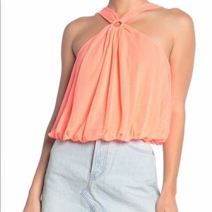 NWT Free People Just A Fling coral Tank top S